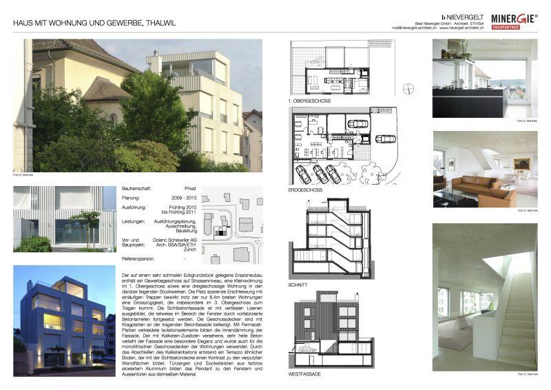 haus mit wohnung und gewerbe thalwil nievergelt architekt. Black Bedroom Furniture Sets. Home Design Ideas